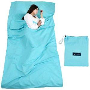 Saco de Dormir con Bolsa Ideal para Interior hostels Cabañas albergues Camping Exterior