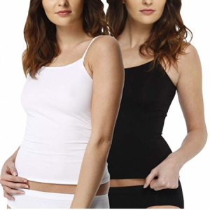 2 Pack Camiseta interior invisible para mujer, microfibra
