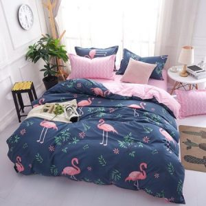 Funda nórdica Microfibra Flamenco Animal Patrón Juego de cama de funda de edredón (Azul, 220x240cm)