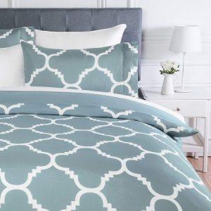 Juego de ropa de cama con funda de edredón, de microfibra, 230 x 220 cm, Azul celosía (Dusty Blue Trellis)