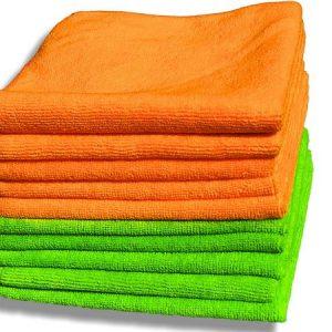 Paquete de 10 paños de microfibras naranja y verde de calidad premium