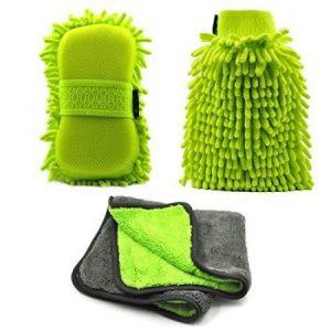 AutoEC Chenille Microfibra Set de Limpieza Para Coche Mitt, Con Paño de Pulido de Alta Densidad, Guantes de Limpieza Ultra Suave,Uso Húmedo o Seco