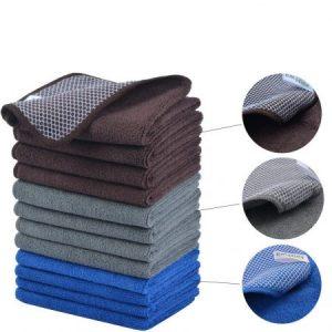 Bayeta de limpieza de microfibra/trapos de microfibra/paños microfibra/paños para limpieza con poli Scour Side 30cmx30cm 12 unidades gris/azúl/marrón