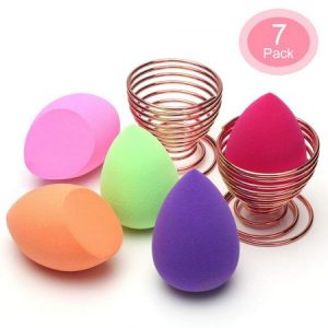 5 Piezas Esponja Maquillaje + 2 Piezas Soporte de Esponja