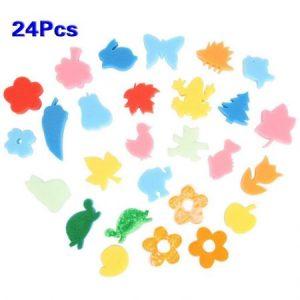 24pcs colorido de diferentes formas kids ninos manualidades pintura esponja sello diy