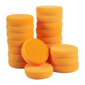 Pack de 20 esponjas sintéticas – redondo Craft esponjas – ideal para pintura, cara pintura, manualidades, cerámica, arcilla, uso doméstico, 3,5 x 1 x 3,5 cm, color naranja
