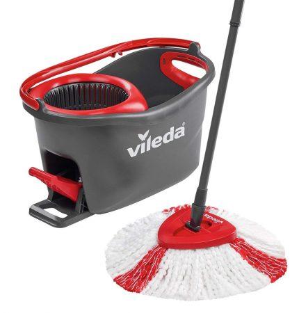 Vileda Easy Wring & Clean Turbo - Juego de fregona, Color Negro y Rojo, 48.5 x 27.5 x 28 cm