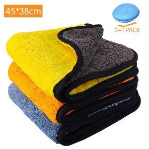 Paños de limpieza de microfibra para coche 3 Pack + Toalla de limpieza