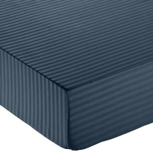Sábana bajera deluxe de microfibra, a rayas, 135 x 190 x 30 cm - Azul marino