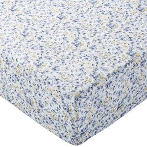 Sábana bajera ajustable (microfibra, 140 x 200 x 30 cm) Azul floral